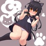 1girl ahoge animal_ear_fluff animal_ears bare_arms bare_shoulders black_dress black_hair black_legwear black_sailor_collar blush brown_background brown_eyes cat_ears cat_girl cat_tail closed_mouth commentary_request crescent crescent_moon_pin dress from_below hands_up heart kantai_collection kemonomimi_mode kneehighs long_hair looking_at_viewer looking_down mikazuki_(kantai_collection) nose_blush panties paw_pose rose_neru sailor_collar sailor_dress sleeveless sleeveless_dress solo star tail underwear very_long_hair white_neckwear white_panties