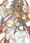2boys 3girls ahoge armor blonde_hair brown_hair chen_gong_(fate) chin_stroking china_dress chinese_clothes clarent crossed_arms dark_skin dark_skinned_male dress facial_mark fate/grand_order fate_(series) flower forehead_mark glasses gloves green_hair hair_flower hair_ornament horse_head japanese_clothes jing_ke_(fate/grand_order) kan_(aaaaari35) kimono mordred_(fate) mordred_(fate)_(all) multiple_boys multiple_girls nezha_(fate/grand_order) over_shoulder ponytail purple_hair red_hare_(fate/grand_order) weapon weapon_over_shoulder