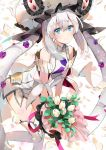 1girl bangs bare_shoulders blue_eyes blush bouquet breasts closed_mouth commentary_request detached_sleeves dress eyebrows_visible_through_hair fate/grand_order fate_(series) flower hair_between_eyes hat head_tilt holding holding_bouquet ice_(ice_aptx) leaning_forward leg_up long_hair looking_at_viewer marie_antoinette_(fate/grand_order) petals sidelocks simple_background sleeveless sleeveless_dress small_breasts smile solo standing standing_on_one_leg thigh-highs twintails very_long_hair white_background white_dress white_flower white_hair white_hat white_legwear