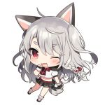 1girl ;d ahoge animal_ears azur_lane bangs black_footwear black_gloves black_sailor_collar black_skirt blush bow braid chibi commentary_request eyebrows_visible_through_hair fake_animal_ears fingerless_gloves full_body gloves grey_hair hair_between_eyes hair_ornament hand_up heart heart_hair_ornament long_hair loose_socks mafuyu_(chibi21) midriff navel one_eye_closed one_side_up open_mouth pleated_skirt puffy_short_sleeves puffy_sleeves red_bow red_eyes ribbed_legwear sailor_collar sample school_uniform serafuku shirt short_eyebrows short_sleeves side_braid simple_background single_braid skirt smile solo tail thick_eyebrows very_long_hair white_background white_legwear white_shirt wolf_ears wolf_girl wolf_tail yuudachi_(azur_lane)