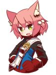 1girl 7th_dragon 7th_dragon_(series) :d animal_ear_fluff animal_ears bangs belt belt_buckle blue_jacket blush buckle cat_ears cropped_torso eyebrows_visible_through_hair fang gloves green_eyes hair_between_eyes hair_bobbles hair_ornament harukara_(7th_dragon) head_tilt jacket long_sleeves looking_at_viewer naga_u one_side_up open_mouth pink_hair red_gloves simple_background smile solo white_background white_belt