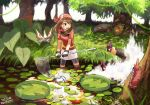 1boy 1girl bandanna bangs bike_shorts brown_eyes brown_hair creatures_(company) falling fanny_pack game_freak gen_3_pokemon gloves grass hair_between_eyes haruka_(pokemon) holding leaf lily_pad long_hair masquerain miniskirt multicolored multicolored_clothes multicolored_gloves nature net nintendo open_mouth outdoors partially_submerged plant pokemon pokemon_(creature) pokemon_(game) pokemon_rse red_shirt shirt short_sleeves shorts shorts_under_skirt skirt splashing surskit tanbo-san teeth torchic tree wading water white_skirt wurmple yuuki_(pokemon)