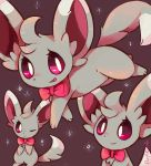;) artist_name bow bowtie commentary creatures_(company) dark_background game_freak gen_5_pokemon highres minccino nintendo no_humans one_eye_closed pokemon pokemon_(creature) purpleninfy red_eyes red_sclera smile sparks