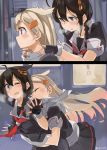 2koma ;o ahoge black_hair black_ribbon black_serafuku black_skirt blonde_hair blue_eyes blush braid comic commentary gradient_hair hair_flaps hair_ornament hair_over_shoulder hair_ribbon hairclip kantai_collection long_hair multicolored_hair one_eye_closed pleated_skirt red_eyes remodel_(kantai_collection) ribbon school_uniform serafuku shigure_(kantai_collection) single_braid skirt sugue_tettou twitter_username yuudachi_(kantai_collection)