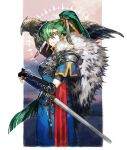 1girl animal armor bird fingerless_gloves fire_emblem fire_emblem:_rekka_no_ken fire_emblem_heroes fur_trim gloves green_eyes green_hair hair_ornament hawk high_ponytail long_hair lyndis_(fire_emblem) nintendo pelvic_curtain ponytail side_slit simple_background solo sword touji_22 weapon