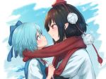 2girls black_hair blue_background blue_bow blue_eyes blue_hair blush bow cirno closed_mouth eye_contact from_side hair_bow hat height_difference ice ice_wings looking_at_another multiple_girls pointy_ears pom_pom_(clothes) profile red_eyes red_hat red_scarf roke_(taikodon) scarf scarf_grab shameimaru_aya shared_scarf shirt short_hair short_sleeves smile tassel tokin_hat touhou upper_body white_shirt wings yuri