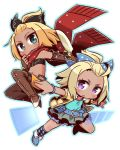 2girls 7th_dragon_(series) 7th_dragon_iii :o argyle argyle_legwear bangs_pinned_back belt belt_buckle black_bandeau black_bow blonde_hair blue_belt blue_bow blue_footwear blue_shirt blush boots bow brown_footwear brown_gloves brown_legwear buckle car character_request chibi closed_mouth collarbone commentary_request dark_skin duelist_(7th_dragon) elbow_gloves fingerless_gloves forehead fringe_trim gloves green_eyes green_skirt ground_vehicle hair_bow hand_up hatch_(7th_dragon) jacket kneehighs leather leather_gloves long_hair looking_at_viewer motor_vehicle multiple_girls naga_u navel open_clothes open_jacket orange_shorts outstretched_arm parted_lips red_scarf scarf shirt short_shorts short_sleeves shorts sidelocks simple_background skirt thigh-highs thigh_boots transparent v-shaped_eyebrows violet_eyes white_background yellow_jacket