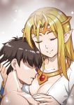 1boy 1girl black_hair blonde_hair bracelet breasts circlet closed_eyes collarbone eyebrows_visible_through_hair eyes_visible_through_hair faceless faceless_male highres hug ilias jewelry long_hair maritan_(pixelmaritan) mon-musu_quest! necklace pointy_ears real_life_insert smile