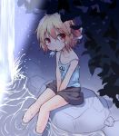 1girl alternate_costume bare_arms bare_legs bare_shoulders between_legs black_skirt blonde_hair camisole collarbone food hair_between_eyes hair_ribbon hand_between_legs looking_at_viewer miniskirt mouth_hold natsu_no_koucha night popsicle red_eyes red_ribbon ribbon rock rumia short_hair sitting sketch skirt soaking_feet solo spaghetti_strap strap_slip touhou v_arms water wet