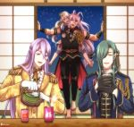 4boys barefoot carrying epaulettes eriyama gloves green_hair hachisuka_kotetsu hair_over_one_eye half_gloves ima-no-tsurugi japari_symbol kemono_friends lavender_hair long_hair male_focus multiple_boys musical_touken_ranbu night night_sky nikkari_aoe opening_door piggyback pouring sengo_muramasa_(touken_ranbu) silver_hair sky sliding_doors smile teapot touken_ranbu twitter_username