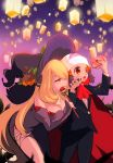 2girls bare_shoulders black_cape black_nails black_pants black_robe black_sleeves black_suit blonde_hair breasts cap cape cellphone chorimokki cleavage creatures_(company) detached_sleeves fangs formal game_freak gen_6_pokemon hair_ornament hat hat_ornament hikari_(pokemon) leaning_forward long_hair medium_breasts multiple_girls nail_polish nintendo orange_eyes pants phone poke_ball pokemon pose pumpkaboo purple_background red_cape red_neckwear shirona_(pokemon) smile standing suit taking_picture tongue tongue_out very_long_hair wand witch_hat yuri