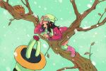 1girl :d bare_tree black_hair boots coat creatures_(company) flower game_freak gen_2_pokemon gen_4_pokemon hair_ornament hat hikari_(pokemon) in_tree long_hair long_sleeves nintendo open_mouth pink_coat pink_flower pink_footwear pokemon pokemon_(creature) pokemon_(game) pokemon_dppt pokemon_platinum regigigas scarf smile snow snowing solo swinub tanbo-san tree white_hat white_scarf