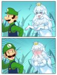 +++ 1boy 1girl 2koma :d bangs blue_overalls blush breasts choir_(artist) comic commentary_request covering_face crown dress emphasis_lines eyebrows_visible_through_hair facial_hair frilled_gloves frills full-face_blush ghost gloves hair_between_eyes hat highres large_breasts long_hair long_tongue looking_at_another looking_back luigi luigi's_mansion mario_(series) mustache new_super_mario_bros._u_deluxe nintendo open_mouth princess_king_boo puffy_short_sleeves puffy_sleeves red_eyes shaded_face sharp_teeth short_sleeves silent_comic smile super_crown teeth tongue v-shaped_eyebrows white_dress white_gloves white_hair white_skin |_|