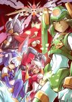 1girl 4boys android black_eyes blue_eyes bodysuit capcom copy_x facial_mark fafnir flying gloves green_eyes grin harpuia helmet highres holding holding_weapon ice jie_laite mechanical_wings multiple_boys phantom_(rockman) polearm red_background red_eyes rockman rockman_zero serious sitting smile standing weapon white_gloves wings