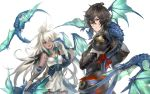 crossed_arms dark_skin dragon granblue_fantasy highres hood hood_down red_eyes red_ribbon ribbon sandalphon_(granblue_fantasy) short_hair simple_background smile white_hair zooey_(granblue_fantasy)