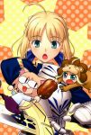 animal_costume animal_ears arcueid_brunestud armor artoria_pendragon_(all) blonde_hair blue_eyes boned_meat chibi collaboration fate/stay_night fate/tiger_colosseum fate_(series) food green_eyes hair_ribbon highres higurashi_ryuuji hirai_yukio lion_costume meat melty_blood neko_arc nekoarc open_mouth pointy_ears ribbon saber saber_lion sword tail takeuchi_takashi tsukihime type_moon weapon
