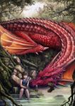 brown_hair dragon fishing forest highres nature okita pout river short_hair signature