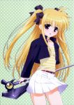 blonde_hair fate_testarossa hair_ribbon highres jacket jewelry long_hair mahou_shoujo_lyrical_nanoha mahou_shoujo_lyrical_nanoha_a's mahou_shoujo_lyrical_nanoha_a's necklace official_art okuda_yasuhiro open_mouth pleated_skirt red_eyes ribbon screening short_jacket skirt twintails weapon