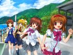 alternate_costume clannad company_connection crossover dragging drinking furukawa_nagisa highres kamio_misuzu kanon key key_(company) little_busters! moonknives mountain mutsuki_(moonknives) natsume_rin school_uniform tsukimiya_ayu