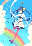 akara balloon bare_shoulders blue_hair ceru cloud dress flower hair_flower hair_ornament highres k-on! long_hair musical_note nakano_azusa pantyhose pink_legwear pink_pantyhose rainbow ribbon sky solo twintails yellow_eyes