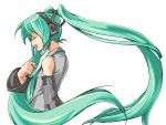 closed_eyes hatsune_miku open_mouth solo twintails vocaloid white