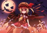 bell_(artist) blonde_hair fang flandre_scarlet halloween highres moon red_eyes short_hair side_ponytail solo touhou wings