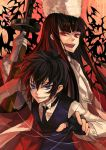 alucard_(hellsing) androgynous bad_id bat bats black_hair blue_eyes fingerless_gloves fur_hat genderswap girlycard gloves glowing_eyes gun hat hellsing hellsing:_the_dawn long_hair necktie osamu_(jagabata) piano_wire piano_wires red_eyes short_hair submachine_gun vampire vest walter weapon