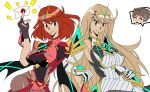 2girls blonde_hair jewelry mythra_(xenoblade) pyra_(xenoblade) red_hair super_smash_bros. super_smash_bros._ultimate xenoblade_(series) xenoblade_2