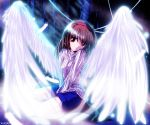 feathers hairband kanon md5_mismatch red_eyes short_hair shorts signature sweater tsukimiya_ayu wings yukirin