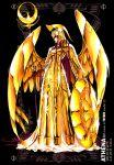 armor athena_(saint_seiya) full_armor future_studio_(artist) gold gold_armor helmet highres long_hair polearm posing poster purple_hair sacred_saga saint_seiya shield shining_armor very_long_hair weapon wings