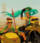 aqua_eyes aqua_hair beret elbow_gloves glasses glasses_on_head gloves hat hatsune_miku jinzou_ningen_kikaider kikaider_(series) motor_vehicle motorcycle pipe sidecar smoking tomioka_jirou twintails vehicle vocaloid wind