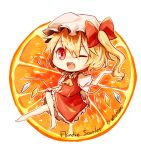 1girl blonde_hair fang flandre_scarlet food fruit hat kaio_(watagami) open_mouth orange red_eyes ribbon short_hair side_ponytail skirt solo touhou wink