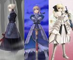 armor armored_dress black_saber blonde_hair blood caliburn dark_excalibur dark_saber dress fate/stay_night fate/unlimited_codes fate_(series) gauntlets green_eyes hair_ribbon hair_ribbons ponytail ribbon ribbons saber saber_alter saber_lily sheath sheathed sugar_(artist) sword unsheathing weapon