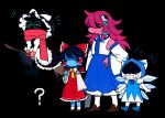 1girl 3boys ? black_background cirno cirno_(cosplay) cosplay crossover deltarune detached_sleeves gloves hakurei_reimu hakurei_reimu_(cosplay) hat ice ice_wings japanese_clothes kirisame_marisa kirisame_marisa_(cosplay) kochiya_sanae kochiya_sanae_(cosplay) kris_(deltarune) lancer_(deltarune) miko multiple_boys nontraditional_miko ralsei scarf soseji_(tjduswjd) susie_(deltarune) tagme wings witch witch_hat