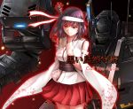 1girl bangs bare_shoulders black_hair border chaigidhiell commentary_request cover_image cowboy_shot detached_sleeves epaulettes floral_print glowing hachimaki hand_on_own_chest headband headgear kantai_collection looking_away mecha medium_hair nontraditional_miko obi pleated_skirt red_border red_eyes red_skirt remodel_(kantai_collection) sash skirt solo translated white_headband wide_sleeves yamashiro_(kantai_collection)