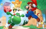 1girl 3boys animal_ears bell brown_footwear clenched_hands clenched_teeth dodging dog_ears dog_tail doubutsu_no_mori facial_hair fence fighting fishing_rod flower gloves grass hair_bell hair_ornament hat john_crayton jumping kirby kirby_(series) licking_lips mario mario_(series) midair motion_blur multiple_boys mustache nintendo open_mouth overalls parted_lips shizue_(doubutsu_no_mori) skirt star super_mario_bros. super_smash_bros. super_smash_bros._ultimate tail teeth tongue tongue_out topknot tree whispy_woods white_gloves yoshi
