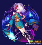 1girl barefoot blue_background bokutodragon detached_sleeves fan fantasy floral_print flower full_body hair_flower hair_ornament hands hitodama japanese_clothes kimono leg_ribbon looking_at_viewer medium_hair obi official_art paper_fan patori red_eyes ribbon rope sash sign silver_hair simple_background smile solo standing watermark wide_sleeves