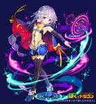 1girl :3 animal_print black_legwear blue_background blue_cape blue_footwear blue_shorts bokutodragon bow braid breasts cape cat_print fantasy full_body hair_bow hand_up long_braid looking_at_viewer magic_circle official_art patori red_cape shorts simple_background small_breasts solo standing thigh-highs violet_eyes watermark white_bow