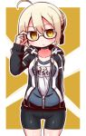 1girl adjusting_eyewear ahoge arm_up artoria_pendragon_(all) bangs bike_shorts black-framed_eyewear black_jacket black_ribbon black_shorts blonde_hair blush braid breasts brown_eyes closed_mouth collarbone commentary_request cowboy_shot drawstring eyebrows_visible_through_hair fate/grand_order fate_(series) gym_shirt hair_between_eyes hair_bun hair_ribbon hood hood_down hooded_jacket jacket long_sleeves mysterious_heroine_x_(alter) naga_u name_tag open_clothes open_jacket ribbon semi-rimless_eyewear shirt short_shorts shorts sidelocks sleeves_past_wrists small_breasts solo track_jacket under-rim_eyewear white_shirt