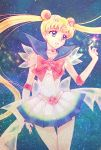 1girl aizen_(syoshiyuki) bishoujo_senshi_sailor_moon blonde_hair blue_eyes blue_sailor_collar bow bowtie choker collarbone cowboy_shot crescent crescent_earrings double_bun earrings elbow_gloves eyebrows_visible_through_hair floating_hair gloves headpiece heart highres jewelry long_hair miniskirt open_mouth pleated_skirt red_bow red_neckwear sailor_collar sailor_moon see-through shirt skirt sleeveless sleeveless_shirt solo super_sailor_moon twintails very_long_hair white_gloves white_shirt