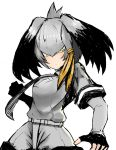 :| arm_at_side bangs belt bird black_gloves black_hair breast_pocket charinkoman clenched_hand closed_mouth collared_shirt expressionless fingerless_gloves gloves grey_hair grey_neckwear grey_shirt grey_shorts hair_between_eyes hand_up highres incoming_punch kemono_friends long_hair long_sleeves looking_at_viewer low_ponytail multicolored_hair necktie orange_hair pocket shirt shoebill shoebill_(kemono_friends) short_over_long_sleeves short_sleeves shorts side_ponytail simple_background twisted_torso upper_body white_background yellow_eyes