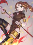 1girl absurdres ahoge boots brown_eyes brown_hair china_dress chinese_clothes dress facial_mark fate/grand_order fate_(series) fire fishnet_pantyhose fishnets flying forehead_mark highres kaerude123 nezha_(fate/grand_order) pantyhose polearm scrunchie smile spear thigh-highs thigh_boots twintails weapon
