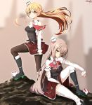 2girls bare_shoulders black_footwear black_legwear blonde_hair blush boots braid breasts brown_eyes brown_legwear closed_mouth corset french_braid gradient gradient_background grey_hair gundam gundam_wing hair_between_eyes hat highres kantai_collection light_brown_hair long_hair medium_breasts mini_hat miniskirt multiple_girls pantyhose parody pola_(kantai_collection) red_skirt remodel_(kantai_collection) sazamiso_rx shirt side_braid sitting skirt standing thigh-highs wavy_hair white_shirt zara_(kantai_collection)