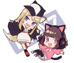 2girls :d animal_ears bangs baseball_cap black_hat black_jacket black_legwear blush boots brown_hair cat_ear_headphones cat_ears cat_girl cat_tail chibi claw_pose dog_ears dog_girl dog_tail drawstring eyebrows_visible_through_hair fang hands_up hat head_tilt headphones hood hood_down hoodie jacket kmnz light_brown_hair long_hair long_sleeves mc_lita mc_liz multiple_girls open_clothes open_jacket open_mouth pink_eyes pink_hoodie pleated_skirt puffy_long_sleeves puffy_sleeves red_footwear shugao sideways_hat skirt smile socks tail thigh-highs very_long_hair violet_eyes virtual_youtuber white_background white_footwear white_hoodie white_skirt