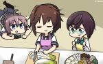 3girls aoba_(kantai_collection) apron black_legwear blue-framed_eyewear blue_eyes brown_hair camera chopping closed_eyes commentary_request counter cutting_board dated dress food furutaka_(kantai_collection) green_eyes hair_ornament hairclip hamu_koutarou highres kantai_collection knife lying messy_hair multiple_girls mushroom okinami_(kantai_collection) on_stomach pink_apron ponytail purple_hair purple_shorts school_uniform scrunchie serafuku shirt short_hair shorts sleeveless sleeveless_dress standing thigh-highs tofu tray white_shirt yellow_apron