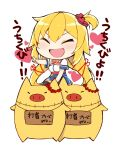 1girl ^_^ akai_haato bangs belt black_legwear blonde_hair blue_skirt blush chibi closed_eyes closed_eyes creature hair_ornament haruyuki_(yukichasoba) heart heart_hair_ornament highres hololive long_hair miniskirt neck_ribbon one_side_up open_mouth pointing red_neckwear ribbon riding shirt short_sleeves simple_background skirt smile solo thigh-highs translation_request v-shaped_eyebrows virtual_youtuber white_background white_shirt zettai_ryouiki