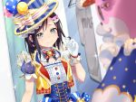 2girls balloon bang_dream! bangs black_hair blue_eyes blue_hat blurry_foreground blush center_frills character_hair_ornament commentary_request corset cross-laced_clothes earrings fireworks frilled_shirt_collar frills gen_(gen_m_gen) gloves hair_ornament hat hat_ribbon highres hood hoodie hoodie_removed jewelry michelle_(bang_dream!) multiple_girls okusawa_misaki playing_with_own_hair ribbon short_hair short_sleeves smile sparkler striped striped_ribbon striped_vest top_hat upper_body vertical-striped_hat vest white_gloves white_ribbon