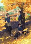"1girl 2boys against_tree black_pants brown_eyes brown_hair cityscape dappled_sunlight day fall_leaves hans_(isekai_izakaya) highres isekai_izakaya_""nobu"" kururi multiple_boys official_art outdoors pants samue sandals senke_shinobu sitting skirt sunlight tree white_legwear yazawa_nobuyuki"