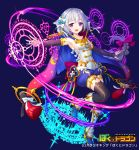 1girl :3 :d arm_warmers black_legwear blue_footwear blue_shorts bokutodragon boots bow braid breasts cape fantasy full_body hair_bow long_braid long_hair looking_at_viewer magic magic_circle official_art open_mouth patori pink_bow shorts silver_hair simple_background small_breasts smile solo standing standing_on_one_leg thigh-highs violet_eyes watermark