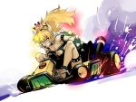 1girl black_dress blonde_hair blue_earrings blue_eyes bowsette bracelet breasts cleavage collar dress driving go_kart ground_vehicle horns ikuhana_niiro jewelry large_breasts mario mario_(series) mario_kart new_super_mario_bros._u_deluxe nintendo pointy_ears ponytail sharp_teeth smile solo spiked_armlet spiked_bracelet spiked_collar spiked_shell spikes strapless strapless_dress super_crown teeth thick_eyebrows turtle_shell white_background